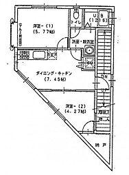 神奈川県横浜市南区共進町2丁目の賃貸アパートの間取り