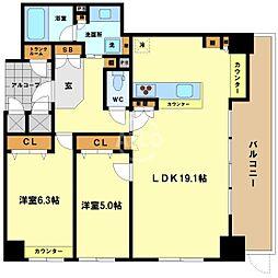ライオンズマンション大阪スカイタワー 16階2LDKの間取り