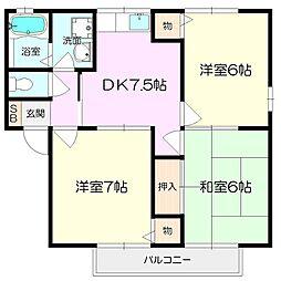 兵庫県伊丹市池尻2丁目の賃貸アパートの間取り