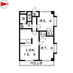 オータムライトIII[1階]の間取り