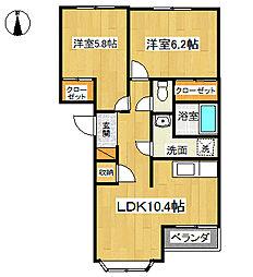 神奈川県綾瀬市上土棚南1丁目の賃貸アパートの間取り