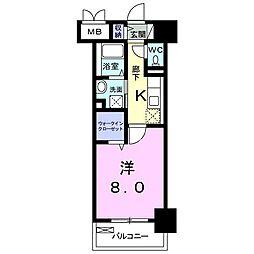 JR中央線 国分寺駅 徒歩4分の賃貸マンション 3階1Kの間取り