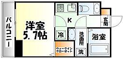 仙台市地下鉄東西線 大町西公園駅 徒歩5分の賃貸マンション 4階1Kの間取り