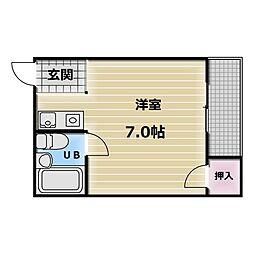 大阪府東大阪市御厨栄町2丁目の賃貸マンションの間取り