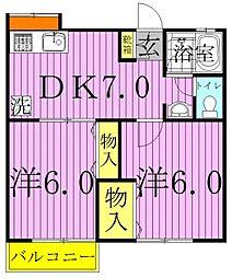千葉県柏市名戸ケ谷1の賃貸アパートの間取り