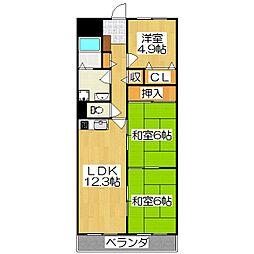 セブンマンション(ベルヴィ51)[4階]の間取り