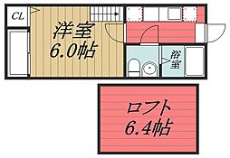 千葉県千葉市中央区神明町の賃貸アパートの間取り