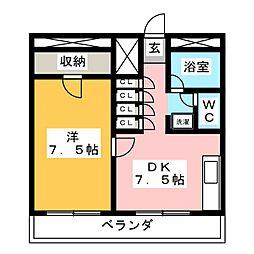 スカイコート福室[1階]の間取り