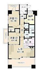 神奈川県横浜市鶴見区下野谷町4丁目の賃貸マンションの間取り