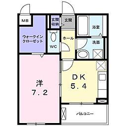 長野西アパートB[0205号室]の間取り