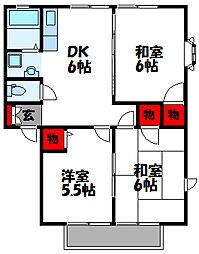 福岡県福津市花見が丘1丁目の賃貸アパートの間取り