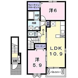 山口県下関市形山町の賃貸アパートの間取り