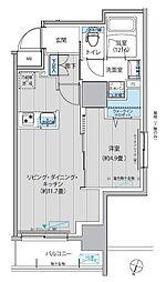 グラン,フォークス神田イーストタワー 7階1LDKの間取り