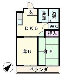 コーポオクムラ[1階]の間取り