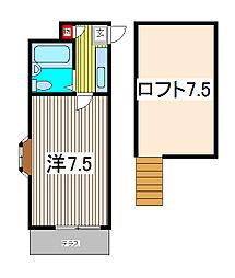 埼玉県川口市芝中田2の賃貸アパートの間取り