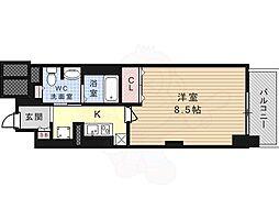 JR東海道・山陽本線 高槻駅 徒歩1分の賃貸マンション 8階1Kの間取り