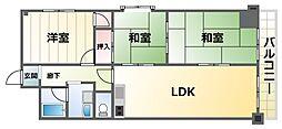 ハイツサンコー 2階3LDKの間取り
