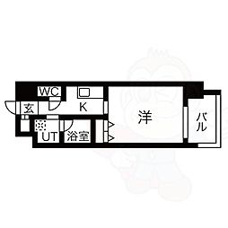 名古屋市営東山線 八田駅 徒歩1分の賃貸マンション 7階1Kの間取り