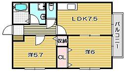 大阪府高槻市栄町2丁目の賃貸アパートの間取り