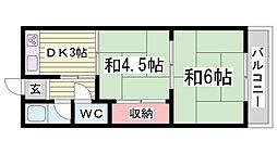 兵庫県神戸市長田区高東町1丁目の賃貸アパートの間取り