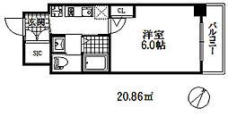 エステムコート神戸元町2リザーブ 3階1Kの間取り