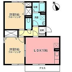 神奈川県伊勢原市高森7丁目の賃貸アパートの間取り