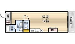 Osaka Metro四つ橋線 肥後橋駅 徒歩5分の賃貸マンション 3階ワンルームの間取り