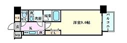 Osaka Metro四つ橋線 肥後橋駅 徒歩7分の賃貸マンション 15階1Kの間取り