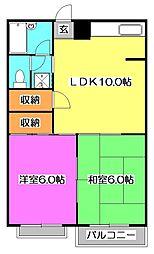 東京都東大和市南街2丁目の賃貸マンションの間取り