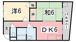 兵庫県姫路市新在家3丁目の賃貸アパートの間取り