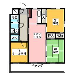 ヒルズコーポ[2階]の間取り