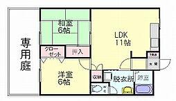 福岡県糟屋郡志免町南里7の賃貸アパートの間取り
