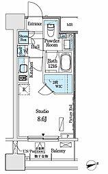 パークアクシス御茶ノ水ヒルトップ 8階ワンルームの間取り
