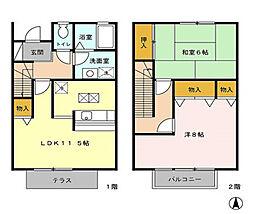 [テラスハウス] 東京都清瀬市中清戸5丁目 の賃貸【/】の間取り