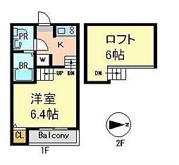 デザイナーズコーポ賑町[2階]の間取り