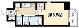 エステムコート名古屋新栄IIIグローリィ 5階1Kの間取り