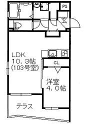 神奈川県横浜市中区本牧元町の賃貸マンションの間取り