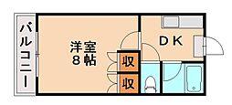 福岡県福岡市城南区南片江2の賃貸アパートの間取り