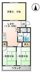 愛知県清須市朝日愛宕の賃貸マンションの間取り