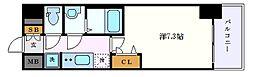 プレサンス栄フェル 5階1Kの間取り