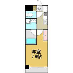 名古屋市営名港線 六番町駅 徒歩4分の賃貸マンション 9階1Kの間取り
