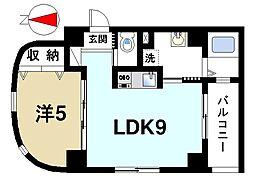 エクセレント天理 6階1LDKの間取り