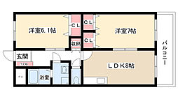 愛知県尾張旭市東大久手町3丁目の賃貸アパートの間取り