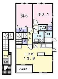 神奈川県横浜市青葉区あかね台2丁目の賃貸アパートの間取り