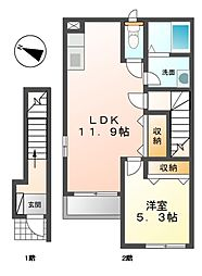 モン・トレゾール 2階1LDKの間取り