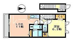 兵庫県神戸市西区押部谷町西盛の賃貸アパートの間取り