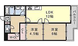 ビューハイツ京都山科[311号室号室]の間取り
