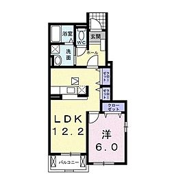 サンパティーク横尾D[1階]の間取り