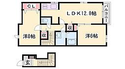 JR姫新線 本竜野駅 徒歩10分の賃貸アパート 2階2LDKの間取り