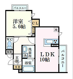 JR東海道・山陽本線 住吉駅 徒歩7分の賃貸マンション 1階1LDKの間取り